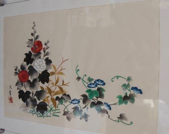 Two Japanese Ikebana paintings on silk. Glass framed 40x30cm