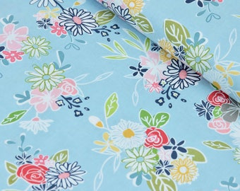 Blue Floral Fabric Cotton Fabric By The Yard 100% Cotton Fabric Apparel Fabric Quilting Fabric Riley Blake Fabric Online Quilt Fabrics