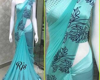 Sattin patta saree/Indian saree/Saree with blouse
