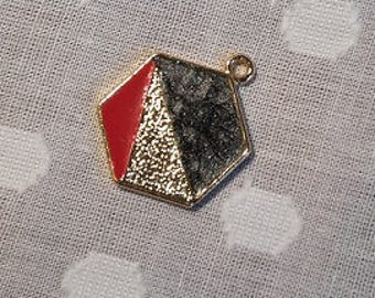 Hexagon pendant with black, gold and red colour detail - charm - jewellery - geometric