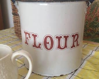 Antique Red and White Enamel Flour Bin, enamel kitchen storage, Vitage White Bread Bin, 1950s Kitchenalia,