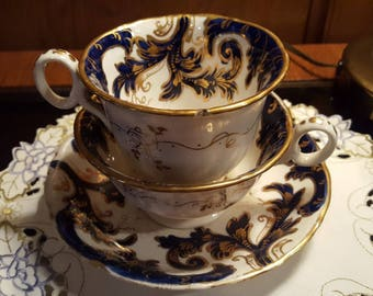 English 1800's Porcelain Gorgeous 4 Piece Set Early Victorian 1800's Tea and Coffee with Saucers