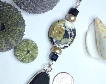Sea Glass Pendant, Sea Glass, Bezel Set Sea Glass, Black Sea Glass, Camo Jewelry, Camo Pendant, Lampwork Jewelry, Lampwork Pendant