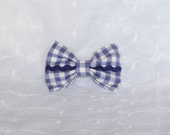 Purple gingham and purple lace bow hair clip