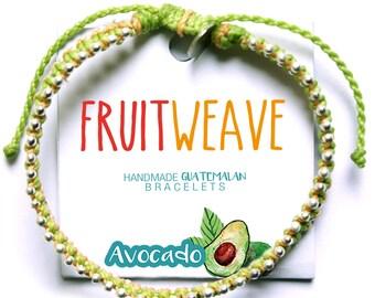 AVOCADO CHIC BRACELET, Guatemalan Bracelets, Handmade bracelets, colorful bracelets, fruit based, fruit weave, friendship bracelets.