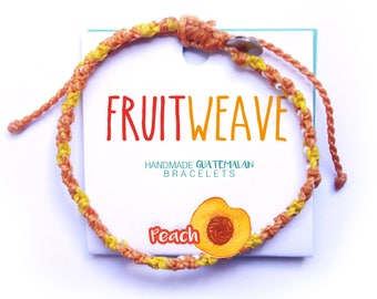 PEACH FUN BRACELET, Guatemalan Bracelets, Handmade bracelets, colorful bracelets, fruit based, fruit weave, friendship bracelets.
