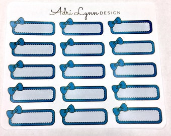 Navy Blue Bow Quarter Box Planner Stickers; for Traveler's Notebooks, Erin Condren, Happy Planner