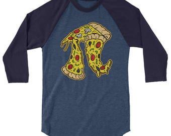 Pizza Pie 3/4 Sleeve Raglan Shirt // Pizza Lover Shirt // Funny Pizza Shirt // Food Fashion Shirt // Foodie Gifts Shirt // Funny Food Raglan