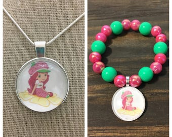 strawberry shortcake jewelry set.Strawberry shortcake pendant necklace.Strawberry shortcake bead bracelet.Strawberry shortcake party favors