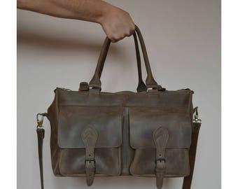 Brown Leather Travel Bag/Big travel bag/leather luggage bag/mens sports bag