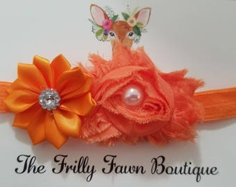 Orange flower headband, toddler headband, infant headband, flower girl gift, baby shower gifts, birthday gifts, frilly fawn boutique