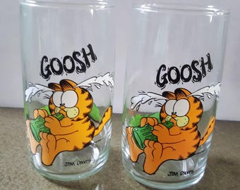 1977 Garfield Collectible Juice Glasses