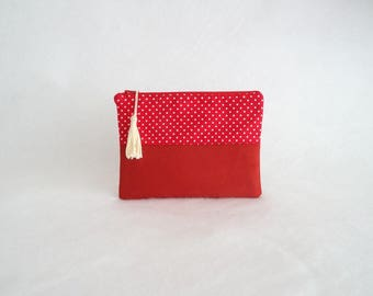 Pouch or makeup Dotty Red