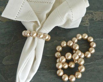 Pearl Napkin Rings, Beaded Napkin Rings, Wedding Napkin Holder, Formal Table, Bridal Table, Table Decor, Home & Living, Wedding table