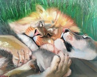 Lions in love Lion original art  Leo zodiac Leo horoscope Wild animal artwork Animals oil painting Birthday gift for Leo Free shipping