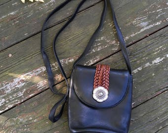 Black Leather Brigthton Purse