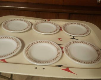 """1970's Pyrex Gold Scroll 5 1/2"""" inch plates (6)"""