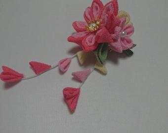 flower bouquet broach/Crepe cloth/flower bouquet/floral/Japanese