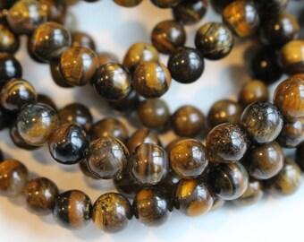 8mm Tigereye beads, full strand, natural stone beads, round, 80126