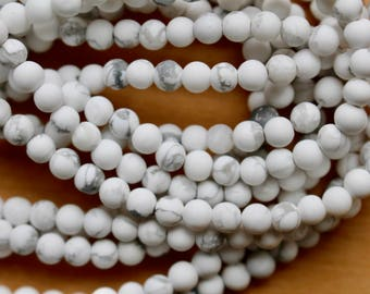 4mm Frosted Howlite beads, full strand, natural stone beads, round, 40032