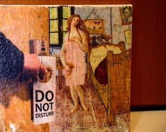 Do Not Disturb-Classic handmade print revisited on canvas