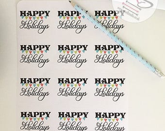 24 Happy Holidays Stickers, Perfect for parcels, packages, letters, Small Business, Order, Labels, Stickers, Santa, Christmas, Holidays