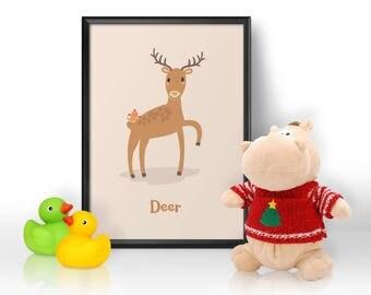 Nursery Print, Nursery Wall Art, Deer Print, Animal Print, Gift for Baby, Gift for a Baby Girl, Gift for a Baby Boy, Child's Bedroom Print