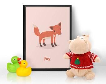 Nursery Print, Nursery Wall Art, Fox Print, Animal Print, Gift for Baby, Gift for a Baby Girl, Gift for a Baby Boy, Child's Bedroom Print