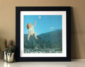 Moon Kid - Digital Collage Art Print Poster