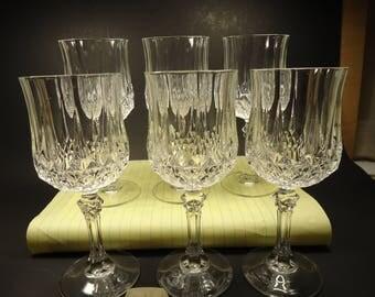 6 crystal stemware wine golblets