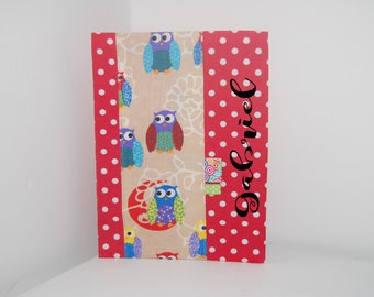 PERSONALIZED - OWL-red cotton health booklet protection cover