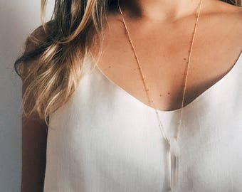 Crystal Quartz Handmade Goldfill Necklace
