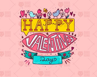 Vector Drawing Happy Valentine's Day Art. Romantic Background, Wall Art, Love Clipart, Digital Images