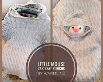 Knitting Pattern - Little Mouse Car Seat Poncho