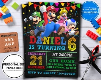 SUPER MARIO INVITATION,Super Mario Brother Invitation, Super Mario Bros Birthday Invitation, Super Mario Brothers Birthday Invitation