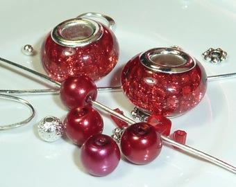 """""""Red glitter ball"""" Murano style glass bead Kit"""