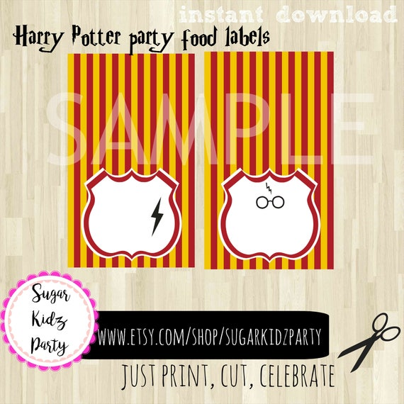 Harry Potter Party Party Food Labels Harry Potter Food