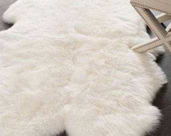 Delightful Plush Faux Fur Sheepskin Area Rug | Faux Fur Area Rug | Fox Fur Designer  Throw