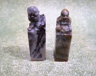 Pair Of Chinese Hand-Carved Stone Statues Signet Seals Stamps Foo Dog And Buddha