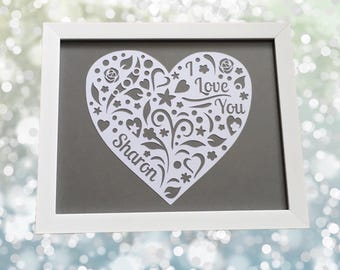 Personalised Love Heart Papercut - Framed