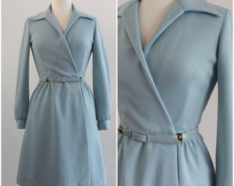 DW3 Vintage David Warren 1970's A-Line Knit Mod Coat/ Light Blue Jacket with Belt/ XS/ Small