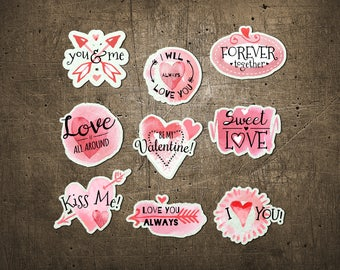 """Printed Chipboard Shapes #008 """"Love Badges"""""""
