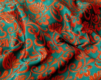 Green and Red leaf-flower brocade silk fabric-624