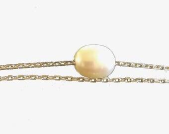 On 925 sterling silver cultured pearl bracelet
