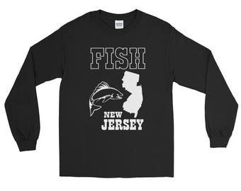 Fish New Jersey Fishing Long Sleeve T-shirt | Fishing Apparel