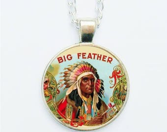 Handmade Pendant Necklace Earrings Ring or Pin Badge Big Chief Red Indian Feather Headdress Peace Pipe Vintage Illustration Jewellery