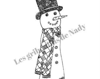 Mandala Bonhomme de neige à colorier et imprimer vous-même - hiver - mandala - zentangle - fait main - détente - coloriage - neige - détente