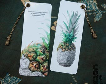 Botanical bookmarks pineapple-botanical pineapple Bookmark-watercolor-Illustration-Gift-cookbook-Charm-charm-Tropical Fruit