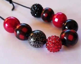 Buffalo plaid 2.0 chunky bead necklace