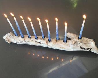 """MalibuDrift: """"Happy"""" Hanukkah Menorah / Large"""